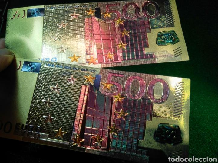 Reproducciones billetes y monedas: LOTE DE 2 BILLETES DORADOS 500€ - Foto 2 - 137151237
