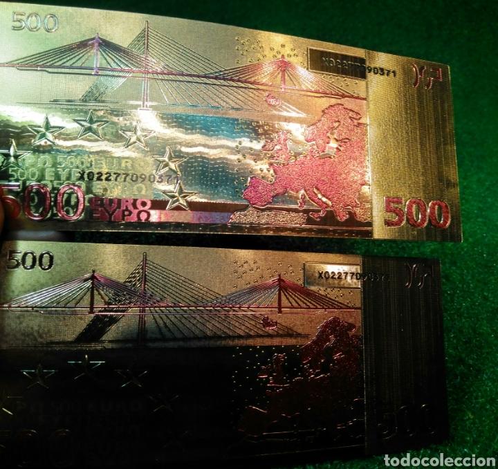 Reproducciones billetes y monedas: LOTE DE 2 BILLETES DORADOS 500€ - Foto 3 - 137151237