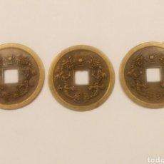Reproducciones billetes y monedas: LOTE TRES MONEDAS CHINAS (REPLICA) I CHING. Lote 137277561