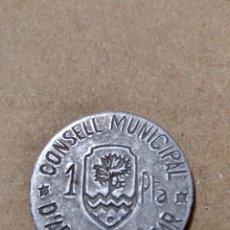 Reproducciones billetes y monedas: BOL- UNA PESETA ARENYS DE MAR. COPIA ANTIGUA.. Lote 137477890