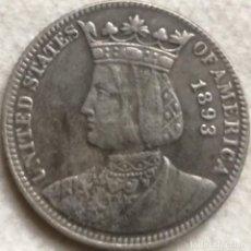 Riproduzioni banconote e monete: RÉPLICA MONEDA REINA ISABEL LA CATÓLICA. EXPOSICIÓN COLOMBINA. 25 CÉNTIMOS. 1893. ESTADOS UNIDOS . Lote 137882026