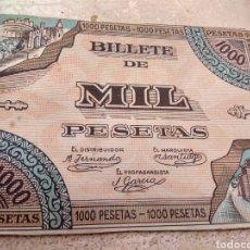 Reproducciones billetes y monedas: - RARO - IMITACIÓN EN CARTÓN DE BILLETE DE 1000 PESETAS. Lote 137926597