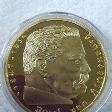 Reproducciones billetes y monedas: MONEDA BAÑO DE ORO 24 KILATES ALEMANIA NAZI 5 REICHSMARK 1938 PAUL VON HINDENBURG.. Lote 187459816