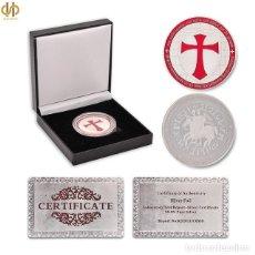 Reproducciones billetes y monedas: MONEDA DE LOS CABALLEROS TEMPLARIOS CON CERTIFICADO AUTENTICIDAD Y CAJA POLIPIEL.. Lote 139362202