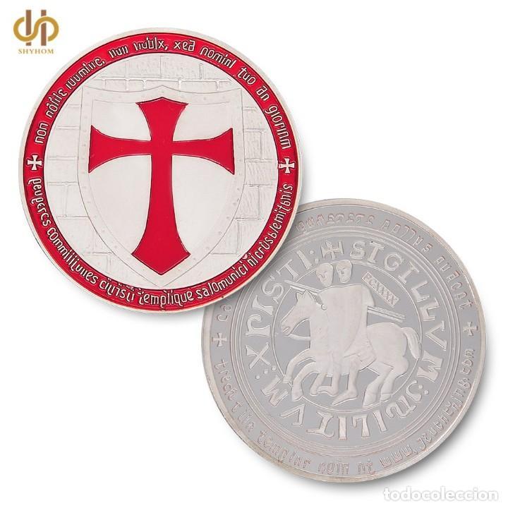 Reproducciones billetes y monedas: MONEDA DE LOS CABALLEROS TEMPLARIOS CON CERTIFICADO AUTENTICIDAD Y CAJA POLIPIEL. - Foto 3 - 139362202