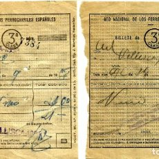 Reproducciones billetes y monedas: BILLETES RED NACIONAL DE FERROCARRILES ESPAÑOLES. 3ª CLASE. Lote 139381950