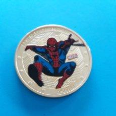 Reproducciones billetes y monedas: ESPECTACULAR MONEDA DE ORO DE SPIDER-MAN. Lote 140459168