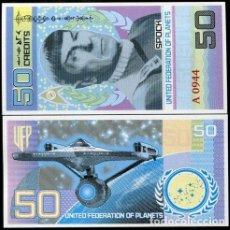 Reproducciones billetes y monedas: STAR TREK 50 CREDITS 1931-2015 / 2017 MR. SPOCK STAR TREK PLANET UNC BILLETE SOUVENIR. Lote 143714090