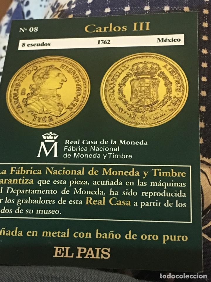 BONITA REPRODUCCIÓN OCHO ESCUDOS 1762 MÉXICO CARLOS III ACUÑADA METAL CON BAÑO ORO PURO (Numismática - Reproducciones)