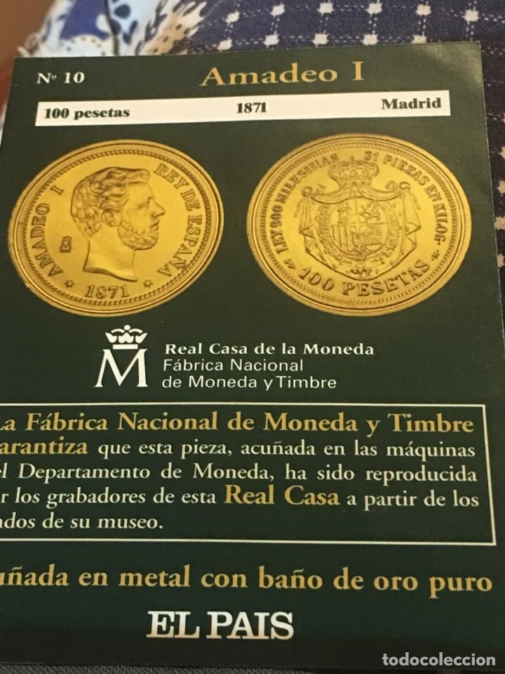 MONEDA REPRODUCCIÓN 100 PTS 1878 MADRID AMADEO I (Numismática - Reproducciones)