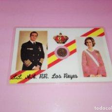 Reproducciones billetes y monedas: TARJETA-CONMEMORATIVA-BODA DE LOS REYES JUAN CARLOS&SOFÍA-MONEDA 100 PESETAS-DORADA-. Lote 143061234