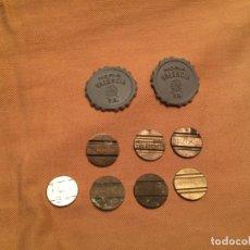 Reproducciones billetes y monedas: ANTIGUAS 6 MONEDA / MONEDAS DE LATÓN DE DE CABINA TELEFONICA DE TELEFONOS AÑOS 60-70. Lote 143228402