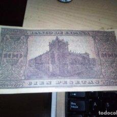 Reproducciones billetes y monedas: REPRODUCCION BILLETE 100 PESETAS BURGOS 1938 REPRODUCCION (SERIE 00000000). Lote 143683854