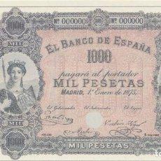 Reproducciones billetes y monedas: BILLETE 1000 PESETAS 1875 REPRODUCCION OFICIAL FNMT . Lote 143735526