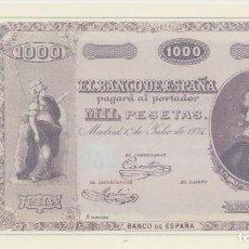 Reproducciones billetes y monedas: BILLETE 1000 PESETAS 1874 REPRODUCCION OFICIAL FNMT - ALONSO CANO. Lote 143735698