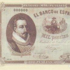 Reproducciones billetes y monedas: BILLETE 1000 PESETAS 1878 REPRODUCCION OFICIAL FNMT - MIGUEL DE CERVANTES. Lote 143736858
