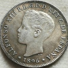 Reproducciones billetes y monedas: RÉPLICA MONEDA PUERTO RICO, ESPAÑA. 40 CENTAVOS. 1896. ESPAÑA. REY ALFONSO XIII. Lote 143867978
