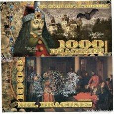 Reproducciones billetes y monedas: COLOMBIA EL CLUB DELA MONEDA MEDELLIN 1000 DRAGONES ROMANIA DRACULA 2013 POLYMER UNC. Lote 144249254