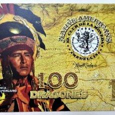 Reproducciones billetes y monedas: COLOMBIA 100 DRAGONES CLUB DE LA MONEDA 2016 UNC. Lote 144255070