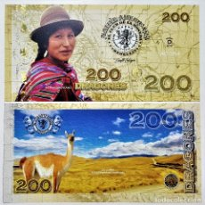 Reproducciones billetes y monedas: COLOMBIA 200 DRAGONES CLUB DE LA MONEDA 2016 UNC. Lote 144256130