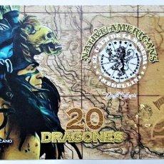 Reproducciones billetes y monedas: COLOMBIA 20 DRAGONES CLUB DE LA MONEDA 2016 UNC. Lote 144256730