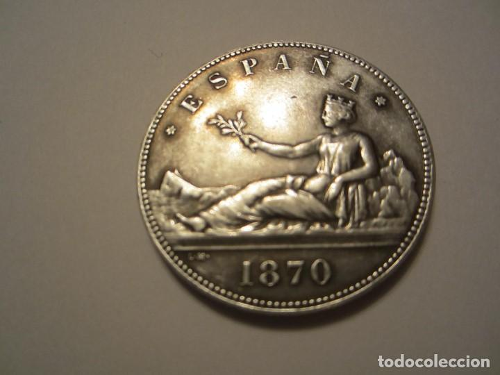 MONEDA DE 5 PESETAS DE 1870 (1ª REPUBLICA) EN METAL (Numismática - Reproducciones)