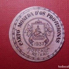 Reproducciones billetes y monedas: CARTÓ MONEDA D´OS PROVISIONAS - MONTCADA I REIXAC - 1937 - 10 CTS. - REPÚBLICA ESPAÑOLA. Lote 144735962