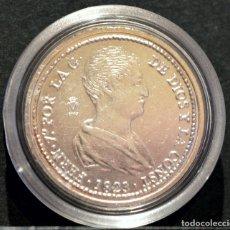 Reproducciones billetes y monedas: BONITA REPRODUCCIÓN MONEDA PLATA 4 REALES 1823 VALENCIA FERNANDO VII METAL CON BAÑO DE PLATA PURA. Lote 76850655