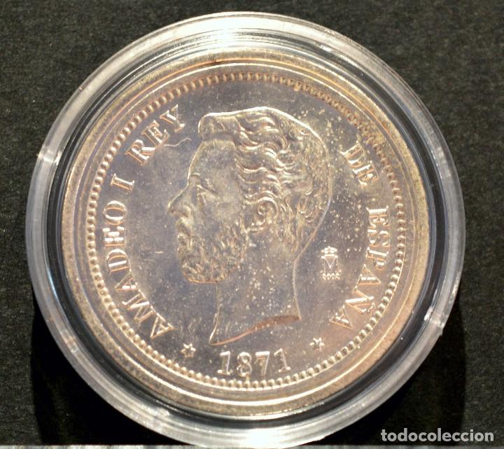 BONITA REPRODUCCIÓN MONEDA PLATA 5 PESETAS 1871 AMADEO I ESPAÑA METAL CON BAÑO DE PLATA PURA (Numismática - Reproducciones)