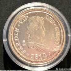 Reproducciones billetes y monedas: BONITA REPRODUCCIÓN MONEDA PLATA 8 REALES 1812 FERNANDO VII ESPAÑA METAL CON BAÑO DE PLATA PURA. Lote 76923347