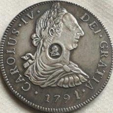 Reproducciones billetes y monedas: RÉPLICA MONEDA 8 REALES. 1791. REY CARLOS IV, LIMA, PERÚ, ESPAÑA. RESELLO BANCO DE INGLATERRA. Lote 158738956