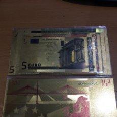 Reproducciones billetes y monedas: LOTE DE 7 BILLETES ORO 24 K DE LOS EUROS EN CIRCULACIÓN. Lote 152421053