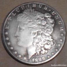 Reproducciones billetes y monedas: DOLAR US MORGAN 1888 PARA COLECCIÓN CON BAÑO DE PLATA. Lote 161003205