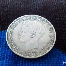 Reproducciones billetes y monedas: RÉPLICA 1 PESO - 5 PESETAS - ALFONSO XIII - 1895. Lote 147786334