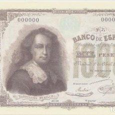 Reproducciones billetes y monedas: BILLETE 1000 PESETAS 1880 REPRODUCCION OFICIAL FNMT - BARTOLOME MURILLO. Lote 147857802