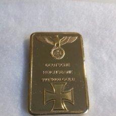 Reproducciones billetes y monedas: REPRODUCCION-BAÑO DE ORO- LINGOTE DEUTSCHE REICHSBANK 999/1000 GOLD- ALEMANIA NAZI. Lote 147883101