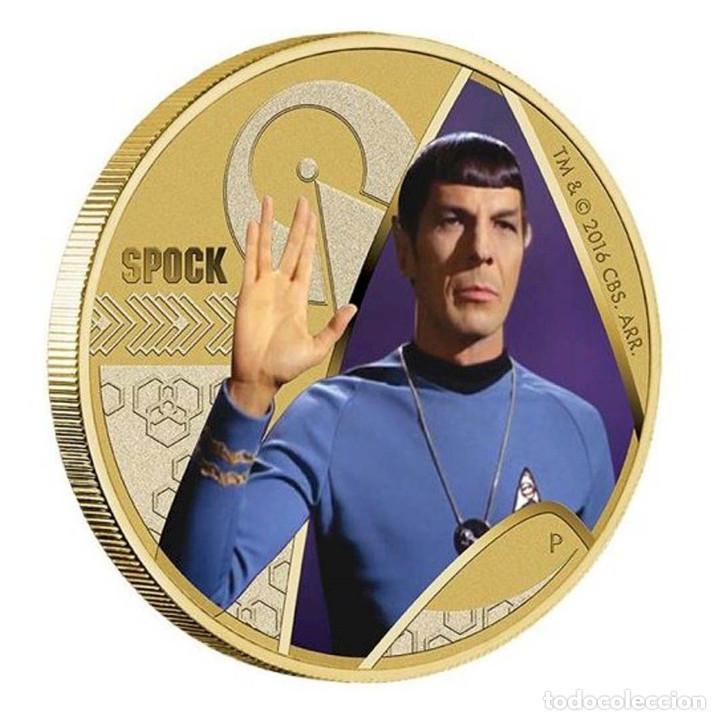 STAR TREK SPOCK $1 ONE DOLLAR UNC 2016 MONEDA COIN PERTH MINT - COLECCIONISTAS (Numismática - Reproducciones)