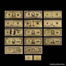 Reproducciones billetes y monedas: COLECCION 14 BILLETES DE DOLAR A COLOR 99.9% ORO PURO 24 KLTS CON CERTIFICADO DE ORIGINALIDAD. Lote 151653185