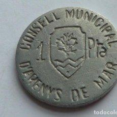 Reproducciones billetes y monedas: RARA 1 PESETA AYUNTAMIENTO ARENYS DE MAR COPIA ANTIGUA IDEAL PARA TAPAR EL HUECO. Lote 148032582