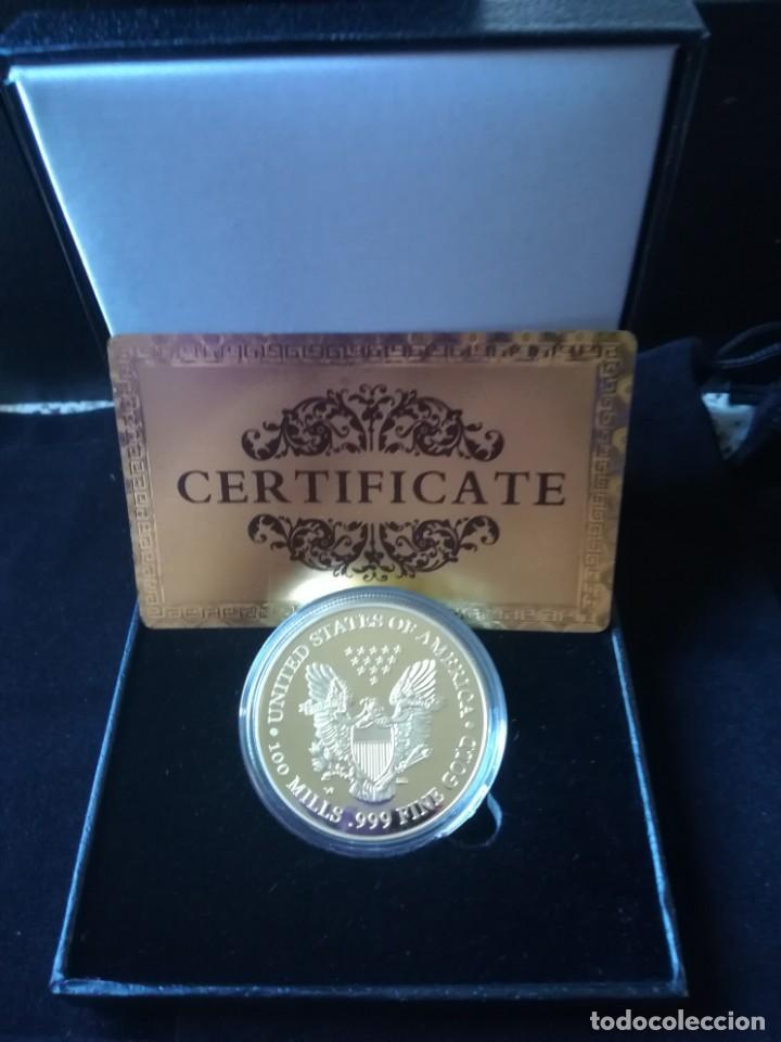 Reproducciones billetes y monedas: EXCELENTE MONEDA DE AMERICAN EGALE CON CERTIFICADO DE AUTENTICIDAD Y CAJA POLIPIEL. - Foto 2 - 161939694