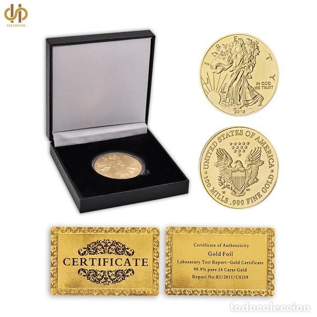 Reproducciones billetes y monedas: EXCELENTE MONEDA DE AMERICAN EGALE CON CERTIFICADO DE AUTENTICIDAD Y CAJA POLIPIEL. - Foto 3 - 161939694