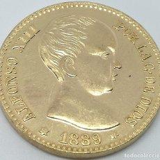 Reproducciones billetes y monedas - RÉPLICA Moneda 20 Pesetas. 1889. Estrellas 18 89. Rey Alfonso XIII. Madrid, España. Rara - 148619470