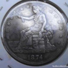 Reproducciones billetes y monedas: 1874 DOLLAR DE COMERCIO DE PLATA ESTADOUNIDENSE. Lote 180496286