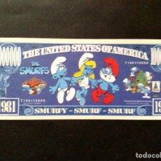 Reproducciones billetes y monedas: FASCIMIL,ONE MILLION PAPA SMURF DOLLARS,UNITED STATES OF SMURFS,1981-1989 (DESCRIPCIÓN). Lote 99060463
