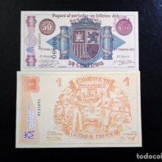 Reproducciones billetes y monedas: PAREJA LOCAL, PROVINCIA DE MURCIA -50 CTS JUMILLA 1937 -1 PTS MURCIA 1937 (OJO REPRODUCCIONES). Lote 149652018