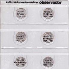 Reproductions billets et monnaies: COLECCION COMPLETA DE 8 MONEDAS CATALANAS DEL OBSERVADOR CON LAS FICHAS (CROATS) CMB. Lote 150218402