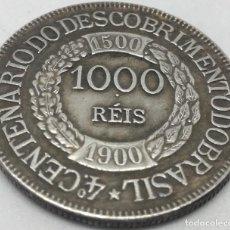 Reproducciones billetes y monedas: RÉPLICA MONEDA 1000 REIS. 1900. BRASIL. 4º CENTENARIO DESCUBRIMIENTO. RARA. Lote 150635566