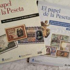 Reproducciones billetes y monedas: EL PAPEL DE LA PESETA I Y II COLECCION COMPLETA DE 80 BILLETES. Lote 150648662