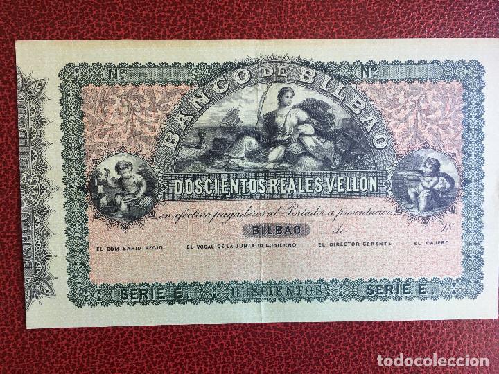 BILLETE 200 REALES VELLÓN BANCO DE BILBAO , FACSIMIL EDITADO EN 1932 POR EL BANCO. (Numismática - Reproducciones)