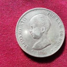 Reproducciones billetes y monedas: DURO DE 5 PESETAS DE PLATA DE 1890. REPRODUCCIÓN EN PLATA CONTRASTADA EN EL CANTO. Lote 152471398